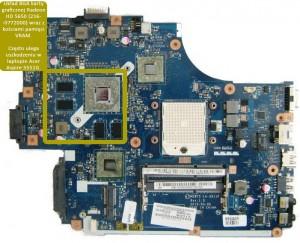 Płyta główna do laptopa Acer Aspire 5551G (motherboard). Model płyty NEW75 LA-5912P. Obsada układowa: 216-0752001 + 216-0772000 / HD4200 + HD5650.